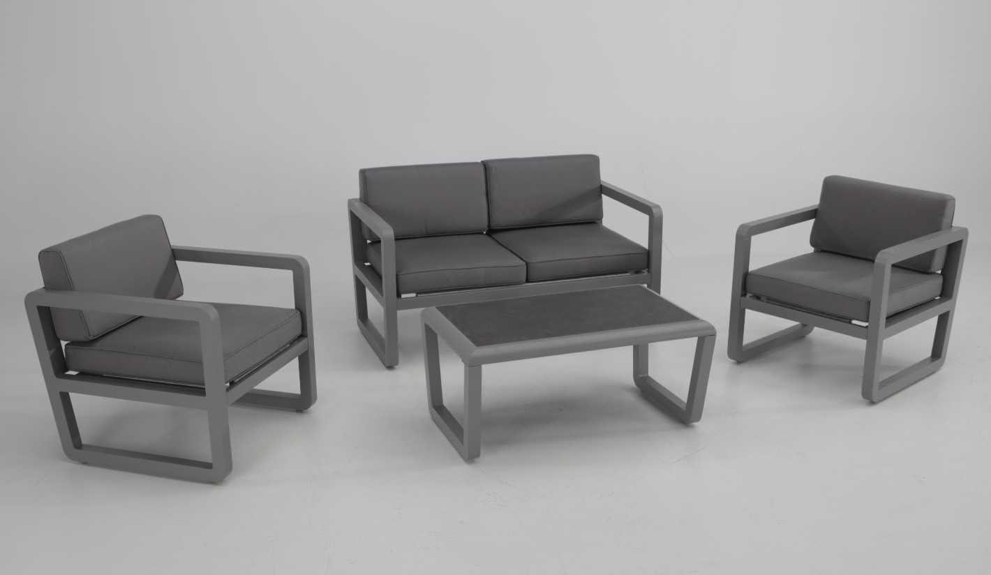Conjunto sofas de terraza y jardin aluminio gris cojines textilene gris Mambo: Amazon.es: Jardín