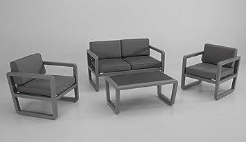 Conjunto sofas de terraza y jardin aluminio gris cojines ...