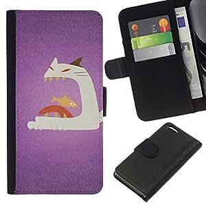 Cat Fish Big Mouth Art Painting - la tarjeta de Crédito Slots PU Funda de cuero Monedero caso cubierta de piel Apple iPhone 5C