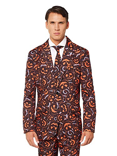 OFFSTREAM Adult Halloween Scary Pumpkin Costume Suit for Men Includes Pants Jacket Tie -
