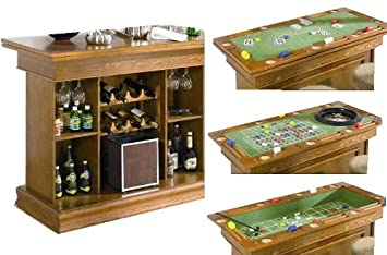 All In One Game Table/Bar Unit With Wine Rack Oak Finish