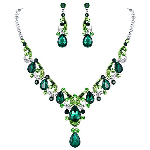 EVER FAITH Crystal Gorgeous Wedding Wave Teardrop Necklace Earrings Set for Bride Green Silver-Tone