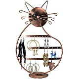 Cat Shape Copper Color Metal Wire Earring Holder Display Stand / Jewelry Organizer