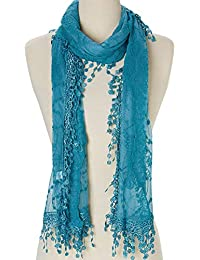 Lightweight Soft Leaf Lace Fringes Scarf shawl for Women