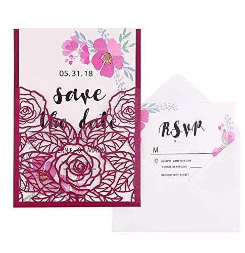 FEIYI 20 Pieces 5 × 7'' Laser Cut Wedding Invitations Cards Hollow Rose with Shiny Ivory Inner Sheets + RSVP Cards + Free Small/Large Envelopes for Wedding, Baby Shower, Birthday Invite (Burgundy)