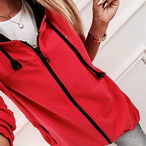 Camicette Felpa Zipper Tops shirt Maniche Soprabito Il Casual Elegante Donna Con Di Cappuccio T Rosso Lunghe Outwear Liquidazione Vendita Capispalla Moda SXxTfqn