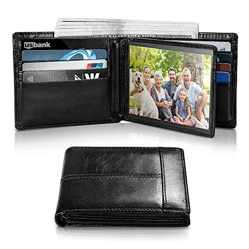Swallowmall Men's Wallet RFID Genuine Leather Bifold Wallets