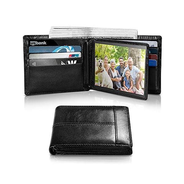 Mens Wallet RFID Genuine Leather Bifold Wallets For Men, ID Window 16 Card Holders...