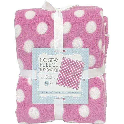 Dots On Pink No-Sew Throw Anti-Pill Fleece Fabric Kit (Fleece Fabric Throw Blanket)
