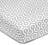 American Baby Company 100-Percent Cotton Percale Fitted Crib Sheet, Gray Honeycomb