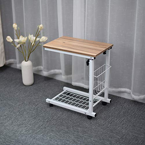 (Sodoop Lift Computer Table, Height Adjustable Overbed Bedside Table,Sofa Side Table,Wheel Mobile Laptop Desk with Storage Basket for Small Spaces Snack Table for Living Bed)