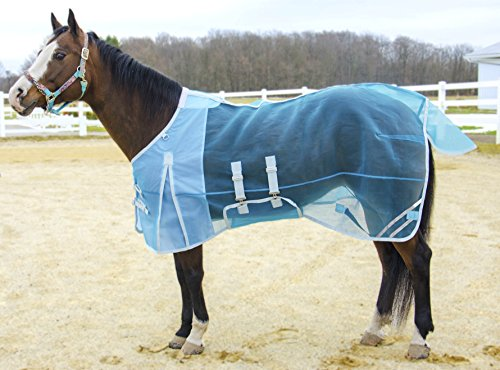 """Derby Originals Mesh Belly Band Fly Sheet with Reflective Trim (75"""", Light Blue)"""