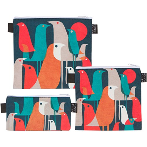Reusable Sandwich & Snack Baggies by ART OF LUNCH - Set of 3 Designer Sandwich Bags - A Partnership with Artists Around the World - Design by Budi Kwan (Indonesia) - Flock of Birds Large Snack Bag