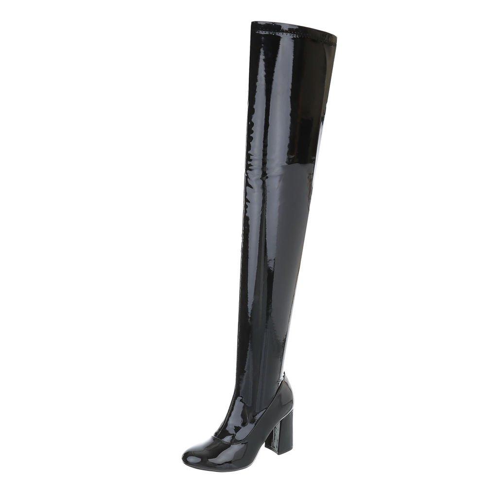 Ital-Design Overknees Damenschuhe Overknees Pump High Heels Reißverschluss Stiefel  40 EU|Schwarz