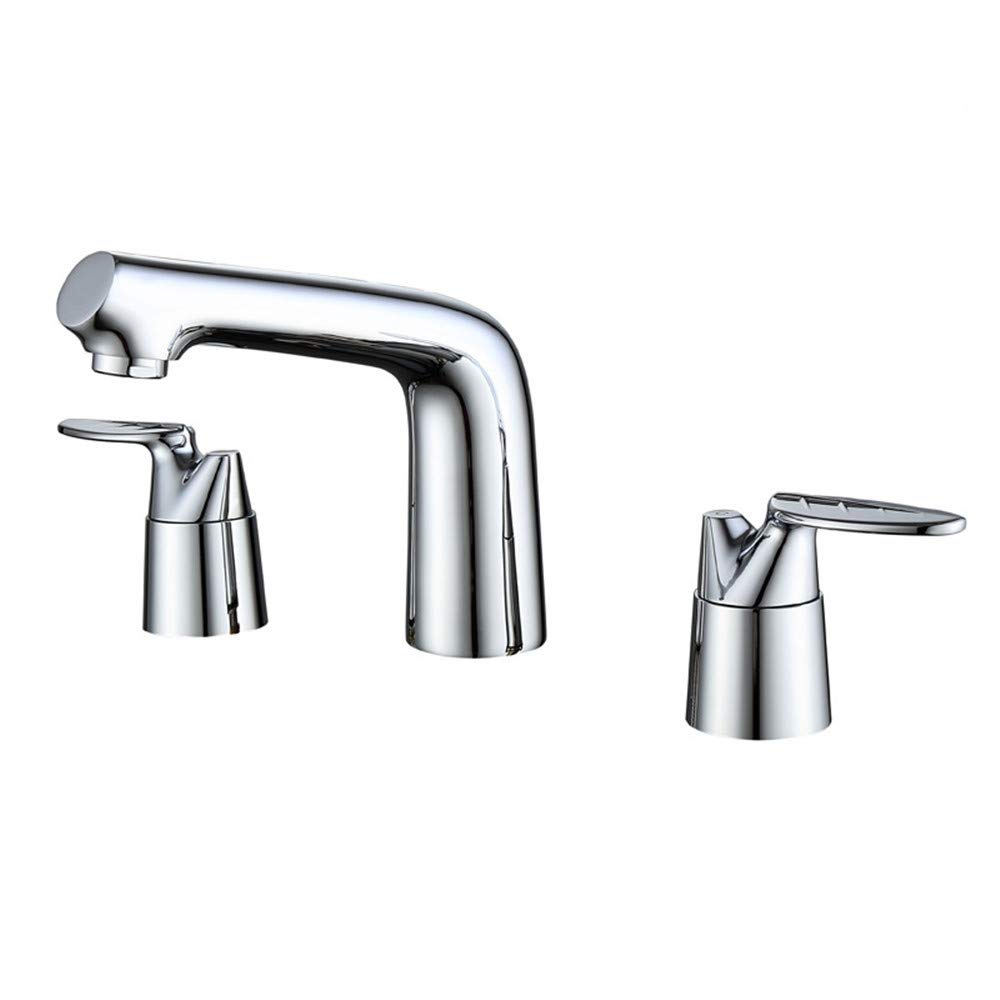 PajCzh Taps Taps Faucet Faucet Sink Bathroom Sink Taps Electroplating Fine Copper Triple-Connected Curved Basin Faucet Household Bathroom Double Copper Hot And Cold Basin Faucet