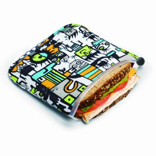 BUILT  Reusable Sandwich & Snack Bags, Robot Uprising, Grey