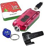Nitecore TIP 360 Lumens USB Rechargeable Keychain Flashlight - Gift Set with Bonus Clip (Red-Green)