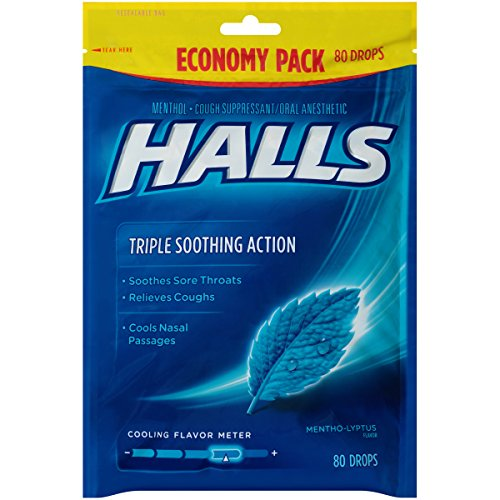 HALLS Cough Drops, (Mentho-Lyptus, 80 Drops, 12-Pack) Halls Mentho Lyptus Cough Suppressant