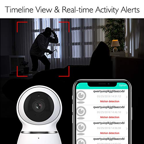 AKASO WiFi Camera, 1080P HD IP Wireless Security Camera with Auto Motion Tracking, Panoramic Navigation,3D Positioning, Pan Tilt Remote Control, Motion Detect, Two-Way Audio, Card Cloud Storage P50
