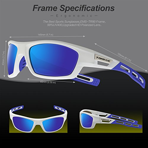 521ae2f43b TOREGE Polarized Sports Sunglasses for Men Women Cycling Running Driving Fishing  Golf Baseball Glasses EMS-