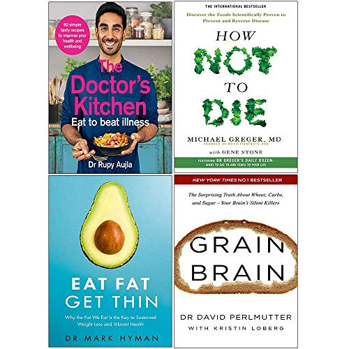 Price comparison product image The Doctors Kitchen,  How Not To Die,  Eat Fat Get Thin,  Grain Brain 4 Books Collection Set