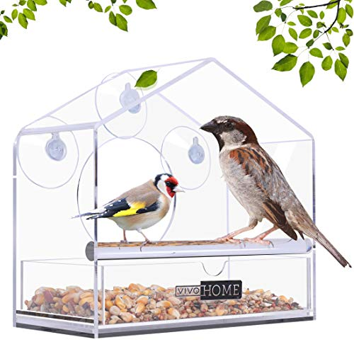 (VIVOHOME Acrylic Squirrel Proof Window Bird Feeder with Strong Suction Cups and Sliding Seed Tray)