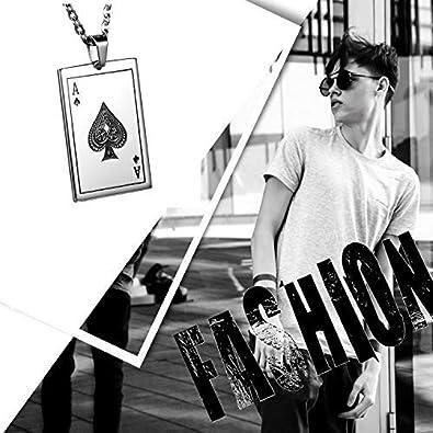 Cupimatch Collar Hombre Poker A Acero Inoxidable Ganador Joyer/ía Moda/Original Collar Hombre Mujer Regalo Halloween
