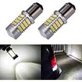 ENDPAGE 1157 2057 2357 7528 BAY15D LED Bulb 2-pack, Xenon White 6000K, Extremely Bright, 54-SMD with Projector Lens, 10-30V, Work as Back Up Reverse Lights, Brake Tail Lights, Turn Signal Blinkers
