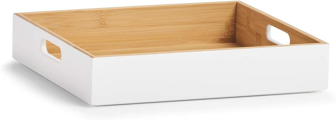 Zeller Caja de Almacenamiento, bambú, Color Blanco, ca. 30 x 27 x 6 cm: Amazon.es: Hogar