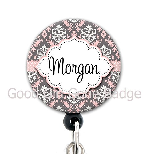 Retractable Badge Reel - Pink and Grey Damask - Personalized Name - Badge Holder