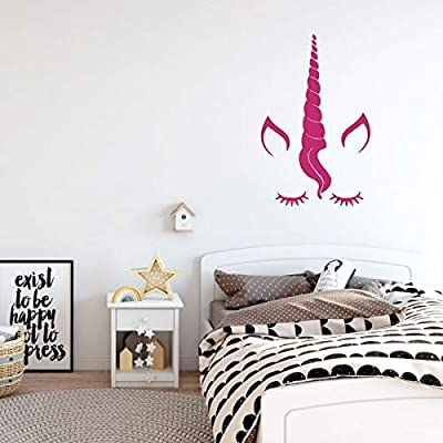 Unicorn Decals for Girls Room | Personalized Vinyl Decal with Eyelashes and Custom Name for Bedroom, Nursery, Playroom, Bathroom | Black, White, Gold, Pink, Purple, Other Colors | Small, Large Sizes: Handmade