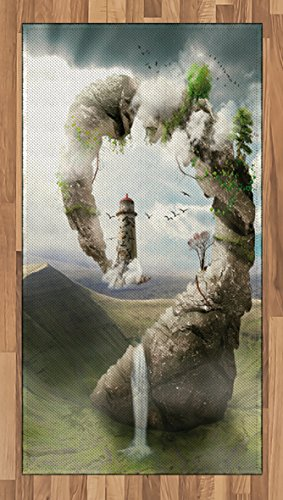 Ambesonne Fantasy Area Rug, Surrealistic Dreamland Natural Stoned Bridge to Lighthouse Fairytale World, Flat Woven Accent Rug for Living Room Bedroom Dining Room, 2.6 x 5 FT, Beige Green White Natural Accent Outdoor Lighthouse