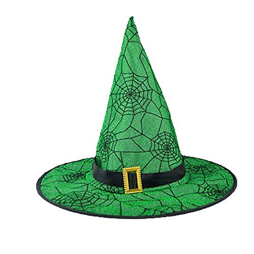Veepola Adult Womens Yellow Green Witch Hat for
