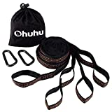 Image of Ohuhu 2 Pcs Hammock Tree Straps Suspension System with Carabiners, 2000+ Lbs Breaking Strength