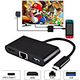 Type C to HDMI Adapter, 4K Type c to HDMI/USB 3.0/ Gigabit Ethernet Port /USB-C Female Charging Port Multi-port Type C Hub Adapter, Type c to USB 3.0 Ports Converter for MacBook Pro 2015/2016/2017