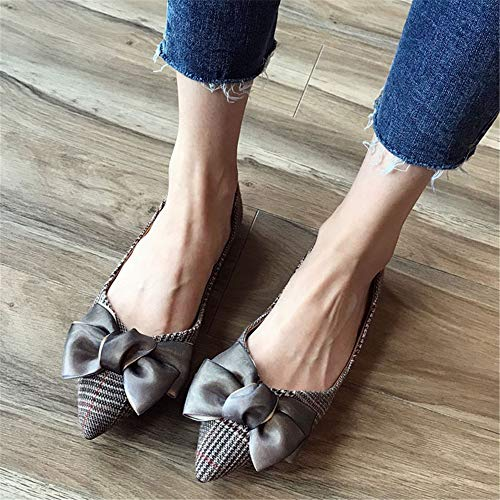 pointed EU summer shoes European fabric shallow 39 shoes work single shoes office FLYRCX flat and spring fashion bow mouth ladies Rzwwfgq