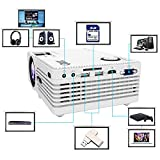 """QKK [2018 Upgraded] Home Theater Mini Projector - Full HD LED Video Projector 1080P Supported, 50,000 Hour Lamp Life with 170"""" Display for Home Entertainment, HDMI,TV,SD Card,AV,VGA,USB x2,iPhone,iPad"""