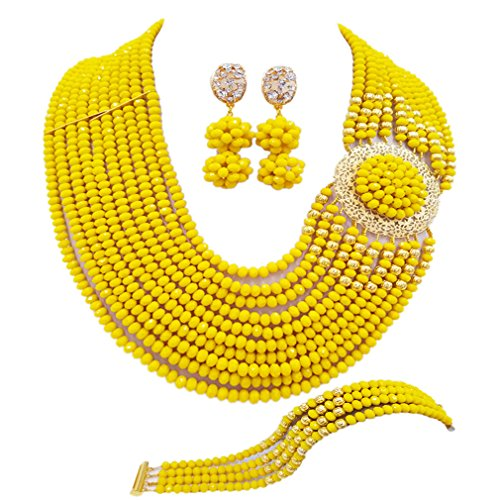 aczuv Crystal Royal Blue Beads Jewelry Set African Necklaces for Women Nigerian Wedding Jewelry Sets (Opaque Yellow)