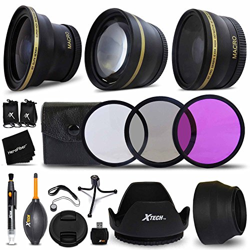 58mm Lens + Accessory Kit for CANON EOS Rebel T6i T6S T5i T4i T3i T2i T1i XTi XT SL1 XSi, EOS M, EOS M2, EOS 80D, 700D 650D 600D 550D 70D 60D 6D 5D 7D, 7D Mark II DSLR Cameras – Includes: 58MM Super High Definition FishEye Lens, 58MM High Definition Wide Angle Lens with Macro Closeup feature, + 58mm High Definition 2X Telephoto Lens + 3 Piece 58MM HD Filter Set + Ring Adapters to from 46-62mm + 58mm Tulip shaped Hard Lens Hood + 58mm Soft Rubber Lens Hood + 58mm Lens Cap + MORE