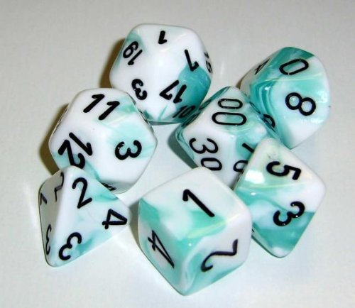 - Chessex Dice Sets: Gemini Teal & White with Black - Ten Sided Die d10 Set (10)
