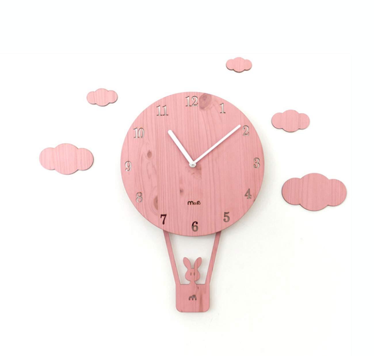 Tochange Cartoon Swing Wanduhr, Persönlichkeit Nette Stille Wanddekorationen Kunst Uhr Für Kinderzimmer Kindergarten Ornament (26  40 cm) (Farbe   Rosa)
