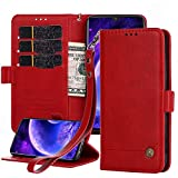 Wallet Case for Oneplus 6T Case, PU Leather Flip Folio Protection Cover with 3 Card Slots 1 Cash Slots [Magnetic Closure] for One Plus 6T with Wrist Strap (Red)