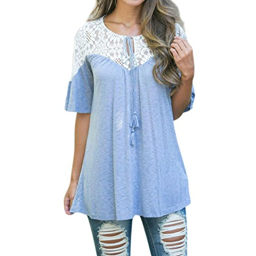 XUANOU Women Round V-Neck Lace Stitching Tops Tie Short Sleeve Tops Blouse T Shirt Tee (XL, - V Blue Round