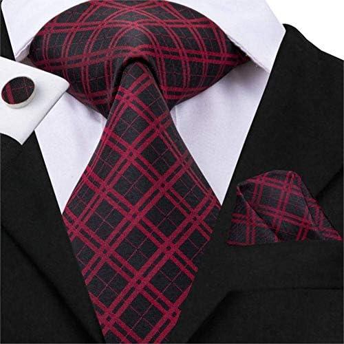 AK Juego de corbatas de tela escocesa roja para hombres, corbata ...