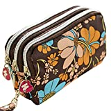 WeiMay Women Extra Large Capacity Wallet Purse Triple Zipper Clutch Phone Bag Stationary Pencil Holder Pen Brushes Makeup Cosmetic Bags Pencil Case Pouch Bag Holder C