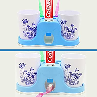 Netspower Automatic Toothpaste Squeezer?Hands Free Toothpaste Dispenser ?Toothbrush Toothpaste Holder and Mug Stand Organizer Set