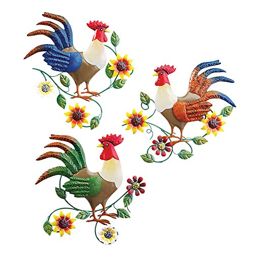 Colorful Country Rooster Trio Metal Wall Art Set