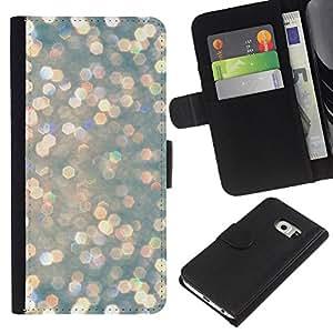 All Phone Most Case / Oferta Especial Cáscara Funda de cuero Monedero Cubierta de proteccion Caso / Wallet Case for Samsung Galaxy S6 EDGE // Pearl Pearlescent Snow Lights
