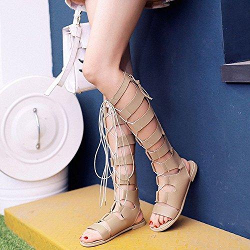 abierto Color Bang Zapatos de verano CN36 de cruzadas larga Sandalias EU36 Vendas Gao Sandalias caña estudiante de dedo de UK4 planas romanos de D B ZHIRONG Tamaño vOUwqRR
