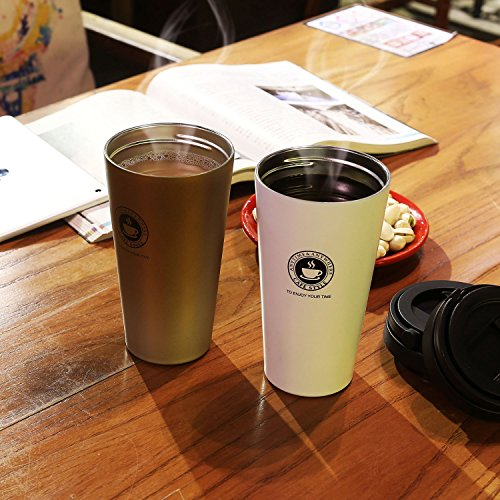 Home / portable Stainless Steel Coffee Mug Insulation / cold Beer Cup acuum Insulated Double-Walled 18/8 Stainless Steel Hydro Travel Mug Coffee color 17OZ (500ml) by SEPT MIRACLE (Image #5)